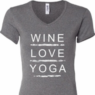 Wine Love Yoga Ladies V-neck Shirt