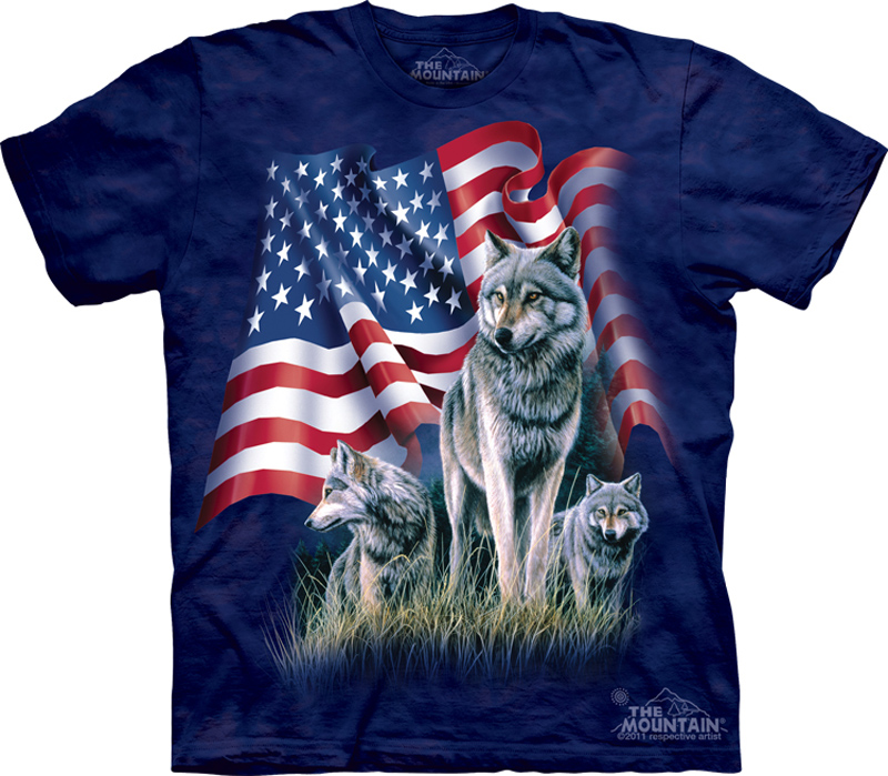 Wolf Shirt Tie Dye Wolves American Flag T Shirt Adult Tee