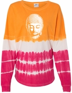 Womens Buddha T-shirt with Long Sleeves - Atomic Orange/Cosmic Pink