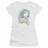 Wonder Woman Juniors Shirt Scroll White T-Shirt