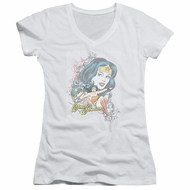 Wonder Woman Juniors V Neck Shirt Scroll White T-Shirt