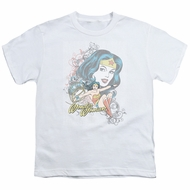 Wonder Woman Kids Shirt Scroll White T-Shirt