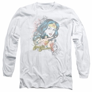 Wonder Woman Long Sleeve Shirt Scroll White Tee T-Shirt