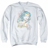 Wonder Woman Sweatshirt Scroll Adult White Sweat Shirt
