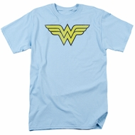 Wonder Woman T-shirt - WW Logo Distressed Adult Light Blue Tee