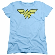 Wonder Woman Womens Shirt Logo Light Blue T-Shirt