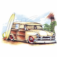 Woodie T-Shirts - Surfin Woody Classic Car Adult Tee Shirts