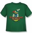 Woody Woodpecker Kids Shirt Pajaro Loco Kelly Green Tee T-Shirt