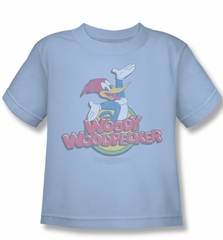 Woody Woodpecker Kids Shirt Retro Fade Light Blue Tee T-Shirt