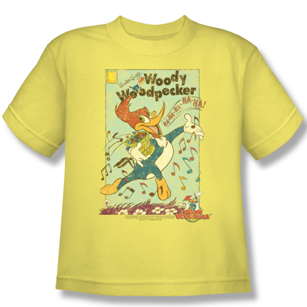 Woody woodpecker kids shirt vintage woody yellow tee t for Yellow t shirt for kids