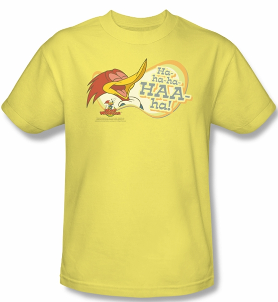 Woody Woodpecker Shirt Famous Laugh Adult Yellow Tee T