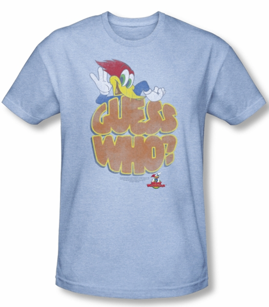 Woody Woodpecker Shirt Guess Who Adult Heather Light Blue