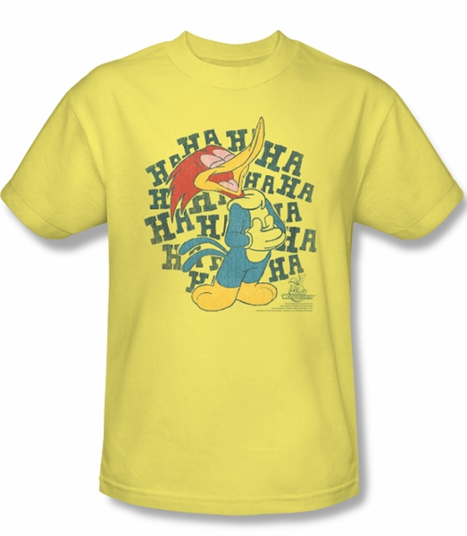 Woody Woodpecker Shirt Laugh It Up Adult Yellow Tee T