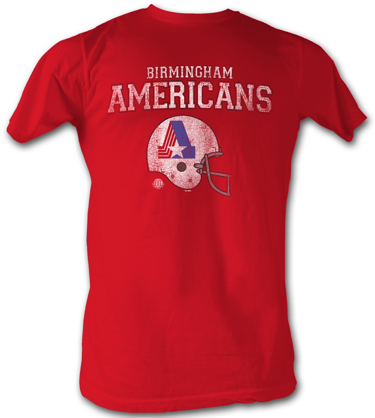 World football league retro t shirt americans adult red for Cool football t shirts