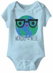 Worldly & Wise Funny Baby Romper Light Blue Infant Babies Creeper