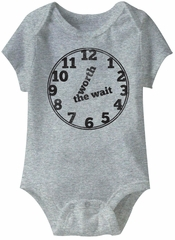 Worth The Wait Funny Baby Romper Grey Infant Babies Creeper
