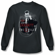 X-Files Shirt Doggett Long Sleeve Charcoal Tee T-Shirt