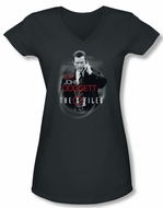 X-Files Shirt Juniors V Neck Doggett Charcoal Tee T-Shirt