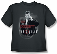 X-Files Shirt Kids Doggett Charcoal Youth Tee T-Shirt