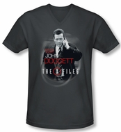 X-Files Shirt Slim Fit V Neck Doggett Charcoal Tee T-Shirt