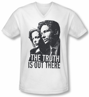 X-Files Shirt Slim Fit V Neck Truth White Tee T-Shirt