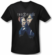 X-Files Shirt Slim Fit V Neck X Agents Black Tee T-Shirt