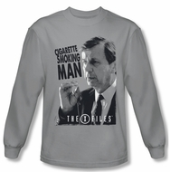 X-Files Shirt Smoking Man Long Sleeve Silver Tee T-Shirt