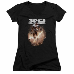 X-O Manowar Juniors V Neck Shirt Lightning Sword Black T-Shirt