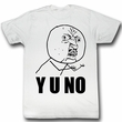 Y U NO Shirt Y U Adult White Tee T-Shirt