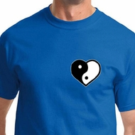 Yin Yang Heart Pocket Print Mens Yoga Shirts