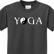 Yin Yang Yoga Text Kids Shirts
