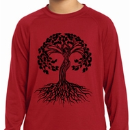 Yoga Black Celtic Tree Kids Dry Wicking Long Sleeve Shirt
