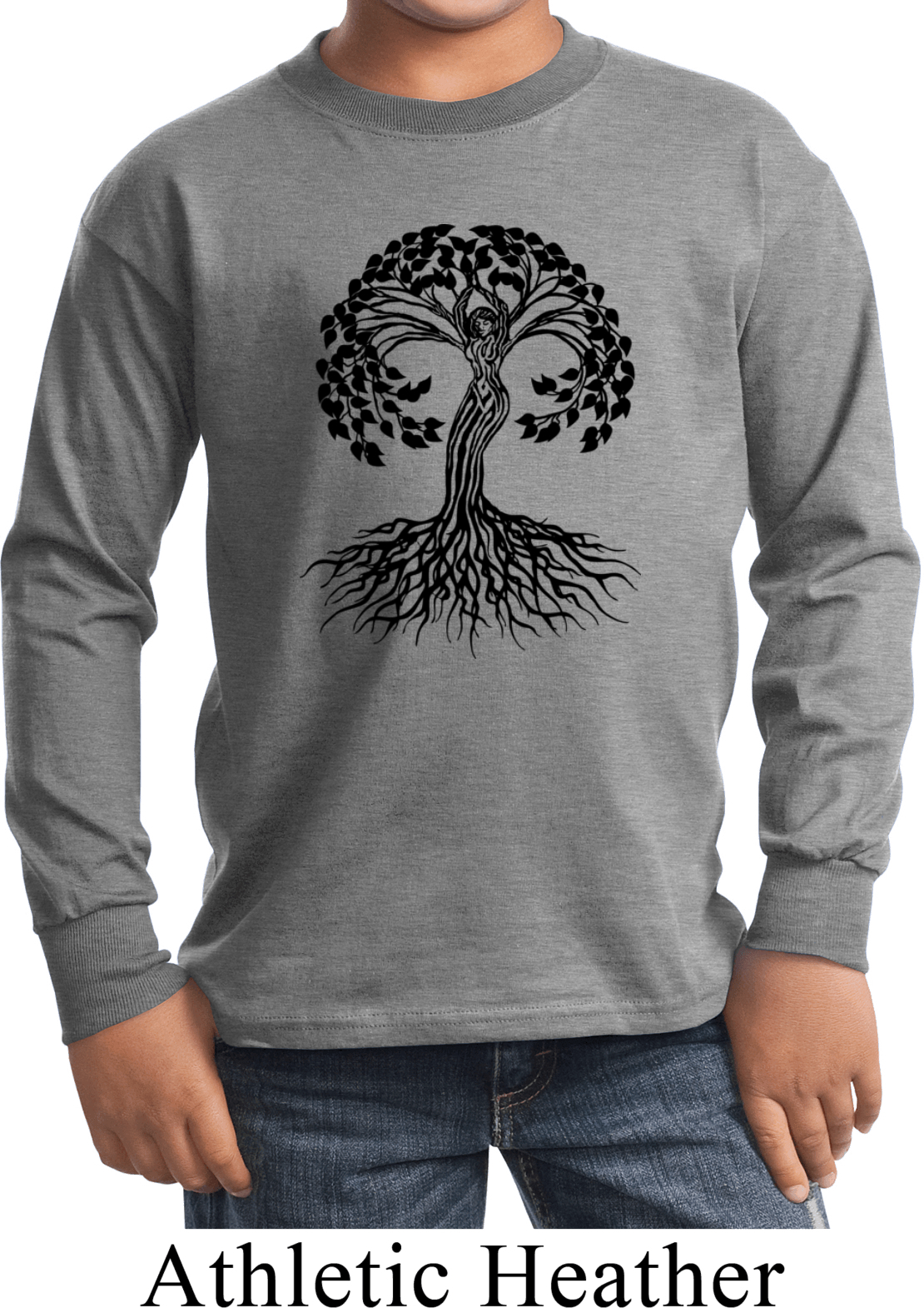 Yoga black celtic tree kids long sleeve shirt black Yoga shirts with sleeves