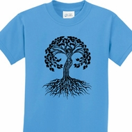 Yoga Black Celtic Tree Kids Shirt