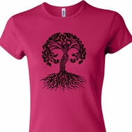 Yoga Black Celtic Tree Ladies Crewneck Shirt
