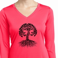 Yoga Black Celtic Tree Ladies Dry Wicking Long Sleeve Shirt