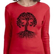 Yoga Black Celtic Tree Ladies Long Sleeve Shirt