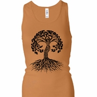 Yoga Black Celtic Tree Ladies Longer Length Racerback Tanktop