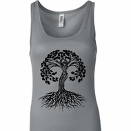 Yoga Black Celtic Tree Ladies Longer Length Tank Top