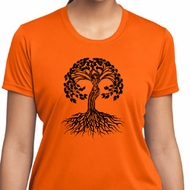 Yoga Black Celtic Tree Ladies Moisture Wicking Shirt