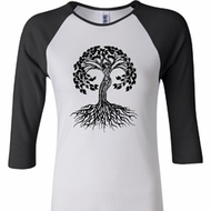 Yoga Black Celtic Tree Ladies Raglan Shirt