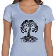 Yoga Black Celtic Tree Ladies Scoop Neck Shirt