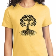 Yoga Black Celtic Tree Ladies Shirt