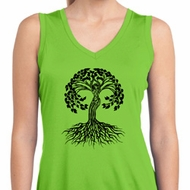 Yoga Black Celtic Tree Ladies Sleeveless Moisture Wicking Shirt