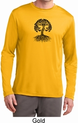 Yoga Black Celtic Tree Mens Dry Wicking Long Sleeve Shirt