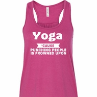 Yoga Cause Punching People is Frowned Upon Ladies Flowy Racerback Tank