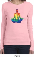 Yoga Chakra Lotus Pose Ladies Long Sleeve Shirt