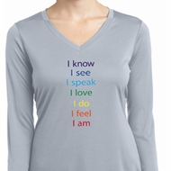 Yoga Chakra Words Ladies Moisture Wicking Long Sleeve Shirt