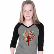 Yoga Foliage Tree Pose Girls Three Quarter Sleeve V-Neck Shirt