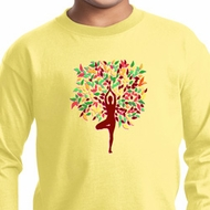 Yoga Foliage Tree Pose Kids Long Sleeve Shirt